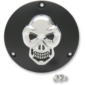 Drag Specialties Black Derby Cover with Chrome Skull - 1107-0267