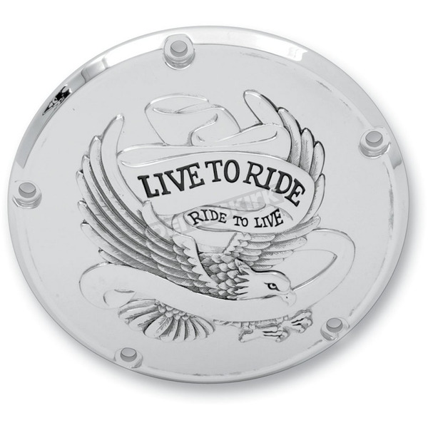 Drag Specialties Chrome Live To Ride/Eagle Spirit Derby Cover - 5-Hole - 1107-0157
