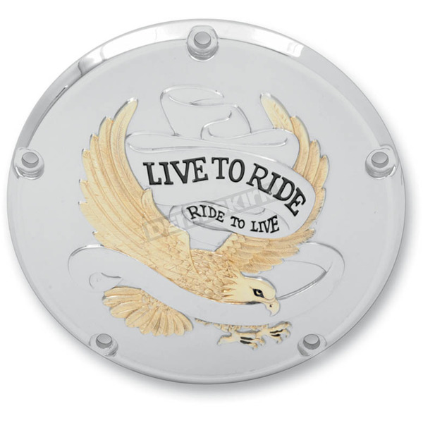 Drag Specialties Gold Live To Ride/Eagle Spirit Derby Cover - 5-Hole - 1107-0158