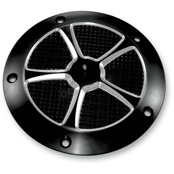 Thunder Cycle Designs Star Cut Black Anodized Derby Cover - TC-025B