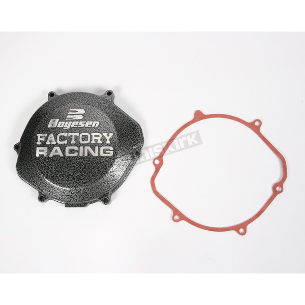 Boyesen Factory Racing Black/Silver Clutch Cover - CC-02A