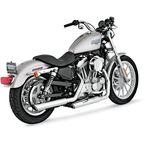 Chrome Round Twin Slash Slip-On Mufflers - 16839