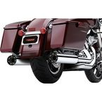 Chrome 4 in. Slip-Ons Mufflers w/Satin Black Race-Pro Tip - 6264