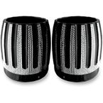 Black w/Diamond Cut Exhaust Tips For Rinehart 4 in. True Dual Mufflers - C1087-D