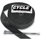 Black 2 in. x 25 ft. Exhaust Pipe Wrap w/Tie Wraps - CPP/9042