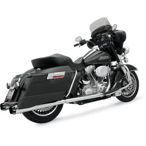 Bassani Chrome +P Bagger Stepped True-Dual Exhaust System w/Power Curve w/Chrome End Caps - 1F46R