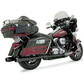 Bassani Black Ceramic +P Bagger Stepped Black Ceramic True-Dual Exhaust System with Power Curve w/Black End Caps - 1F46RB