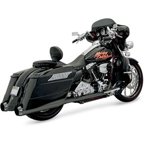 Bassani Black Ceramic +P Bagger Stepped True-Dual Exhaust System with Power Curve B1 Muffler w/Black End Caps - 1F56RB