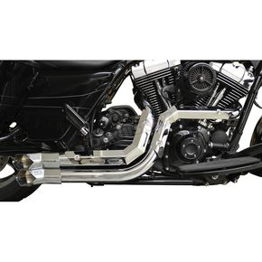 LA Choppers Chrome Fusion Exhaust System w/Chrome Heat Shields and Tips - LA-F100-00