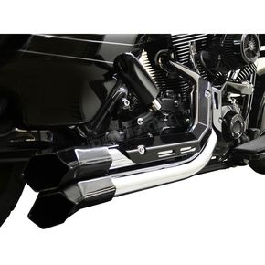 LA Choppers Chrome Fusion Exhaust System w/Black Heat Shields and Tips - LA-F100-02