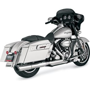 Vance & Hines Chrome Round Twin Slash Slip-On Muffler for Models w/2 into 1 Systems - 16777
