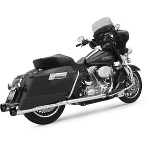 Bassani Chrome 4 in. Megaphone Slip-On Mufflers w/Black End Caps - FLH-517T
