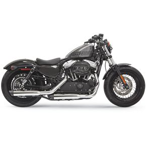 Bassani Chrome 3 Inch Firepower Series Slip-On Muffler w/Black Billet Slash-Cut End Cap - 1X27SB