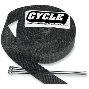 Cycle Performance Black 2 in. x 25 ft. Exhaust Pipe Wrap w/Tie Wraps - CPP/9042