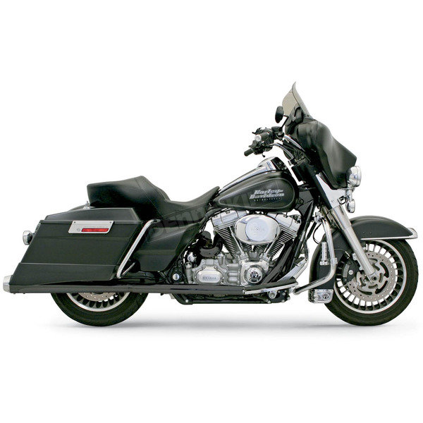 Bassani Black Ceramic +P Bagger Stepped Power Curve True-Dual Exhaust System w/Polished End Cap - 1F46JB