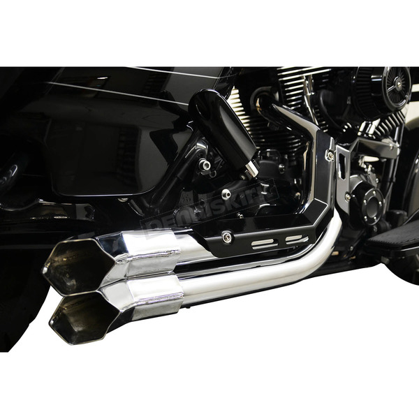 LA Choppers Chrome Fusion Exhaust System w/Black Heat Shields and Chrome Tips - LA-F100-01