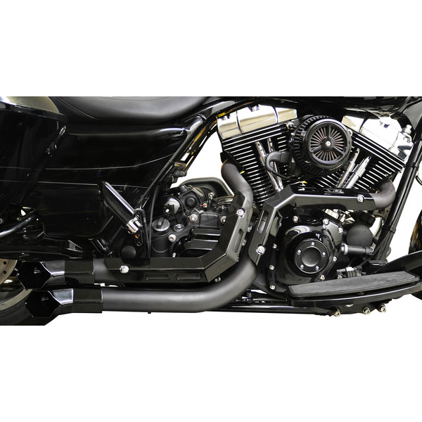 LA Choppers Black Fusion Exhaust System w/Black Heat Shields and Tips - LA-F100-00B