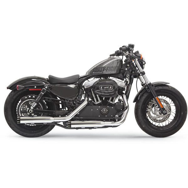 Bassani Chrome 3 Inch Firepower Series Slip-On Muffler w/Black Billet End Cap w/Contrasting Flutes - 1X27T