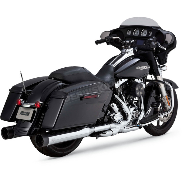 Vance & Hines Chrome/Black Oversized 450 Titan Slip-On Mufflers - 16551