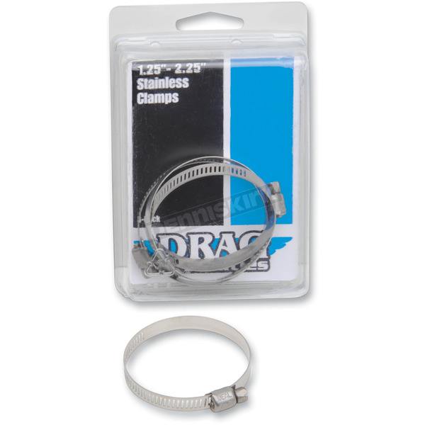Drag Specialties 1.25 in. - 2.25 in. Stainless Steel Worm Clamps - 1861-0672