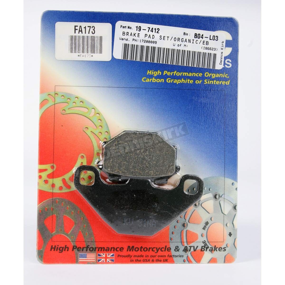 One Pair EBC Organic OE Quality Replacement Brake Pads FA209//2