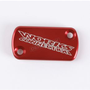 Works Connection Red Anodized Billet Aluminum Front Brake Reservoir Cover - 21-005
