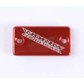 Works Connection Red Anodized Billet Aluminum Front Brake Reservoir Cover - 21-035