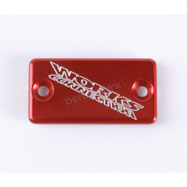 Works Connection Red Anodized Billet Aluminum Front Brake Reservoir Cover - 21-025