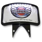 Gloss Black Radius Illuminated Laydown License Plate Bracket - KPL-301BL
