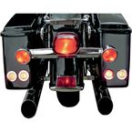 LED Saddlebag Marker/Signal Light Kit with Bright Polished Stainless Trim Rings and Amber Lights - EX000488