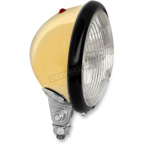 Paughco Solid Brass 5 3/4 in. Headlight Assembly w/Black Ring - 1300BRB