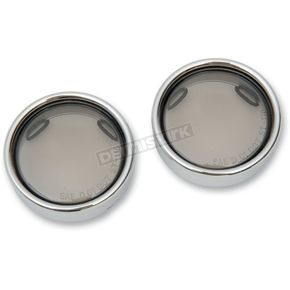 Drag Specialties Smoke Turn Signal Lens Kit with Chrome Trim Ring - 2020-0547