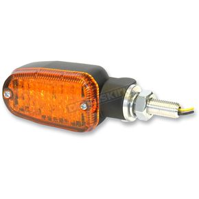 K & S Black LED Turnsignals w/Amber Lens and Two-Wires - 26-7700BK