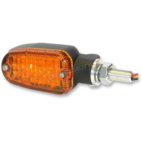 K & S Black LED Turnsignals w/Amber Lens and Three-Wires - 26-7701BK