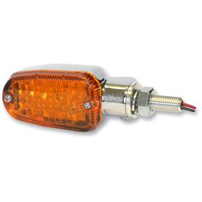K & S Chrome LED Turnsignals w/Amber Lens and Three-Wires - 26-7701CM