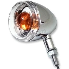 K & S Chrome Incandescent DOT Approved/E-Marked Aluminum Body Turn Signals w/Clear Lens - 25-5313