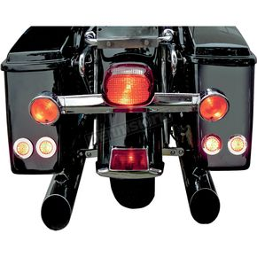 Saddlemen LED Saddlebag Marker/Signal Light Kit with Bright Polished Stainless Trim Rings and Amber Lights - 2040-0800