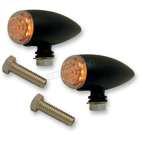 Pro-One Smooth Gloss Black Powder Coat Bullet Marker Lights - 400370B