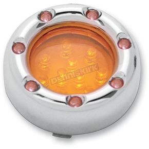 Arlen Ness Dual Function Chrome Trim Ring with Amber Ring LEDs and Amber Lens - 12-756