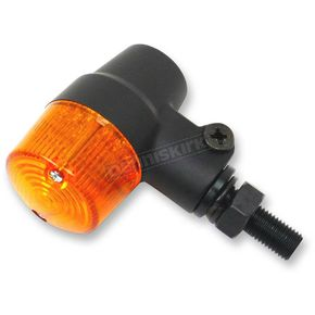 K & S Black Satin Aluminum Round #3 Dual Filament LED Marker Lights w/Amber Lens - 26-8633