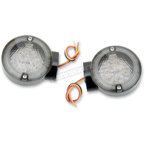 Drag Specialties Front LED Turn Signals w/ Smoke Lens - 2020-0564