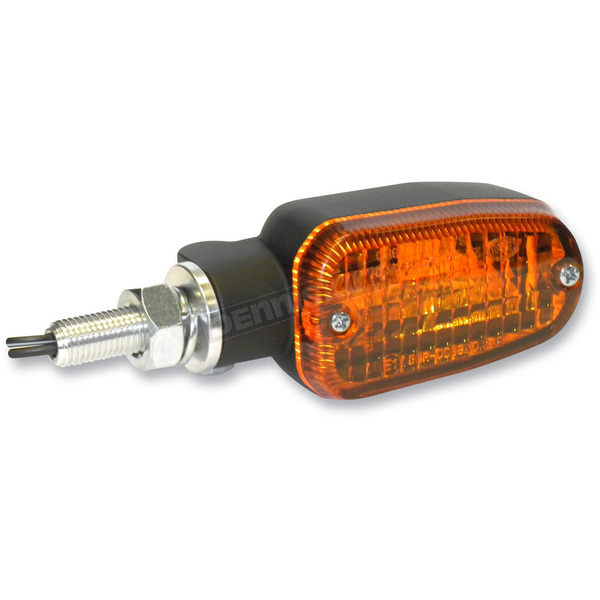 K & S Black Incandescent Turnsignals w/Amber Lens and Two-Wires - 25-7700BK