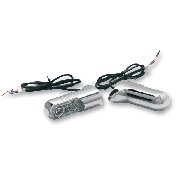 Chrome Rear Bolt-On Turn Signals with 2.5 in. Power LEDs - Red - 12-740