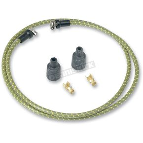 Lowbrow Customs Green/Yellow Cloth 7mm Spark Plug Wires - 000344-5
