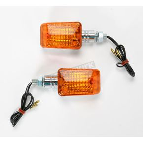 K & S Mini-Stalk Universal Turn Signals - Chrome w/Amber Lens - 25-7502