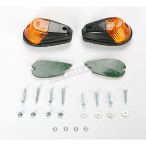 K & S Flush Mount Marker Lights - Black w/Amber Lens - 25-8158