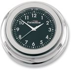 Chrome Flat Mount Clock w/Black Face - IP20000