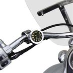 Chrome w/ Black Face Motorcycle Clock for 1 in. Bars - EMC-CH-BL
