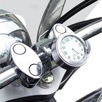 Chrome w/ White Face Motorcycle Clock for 1 in. Bars - EMC-CH-WH