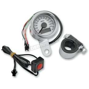 Drag Specialties 1.87 in. White Faced Programmable Mini  Electronic Speedometer with Odometer - 2210-0173